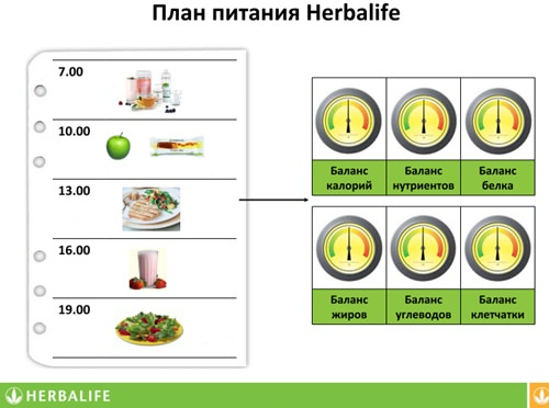 план питания гербалайф