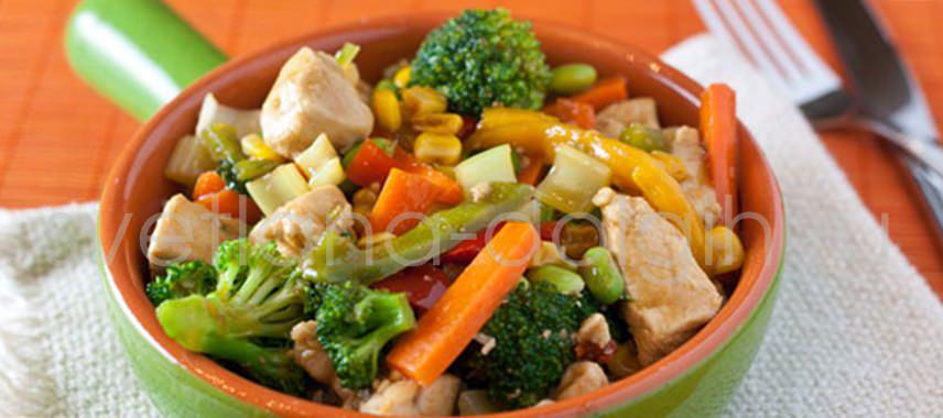 диетическое овощное рагу с индейкой