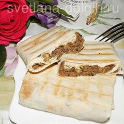 Лаваш с сыром и печенью