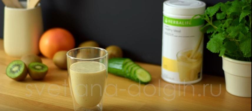 протеиновый коктейль Гербал с киви и огурцом
