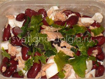 как приготовить салат из фасоли и сайры